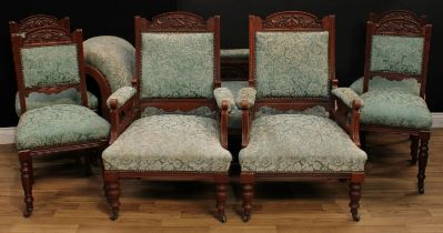 A late Victorian Eastlake design seven piece drawing room suite, comprising chaise longue, 77cm
