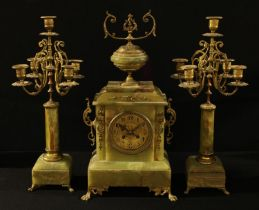 An onyx Meyer and Levy clock garniture