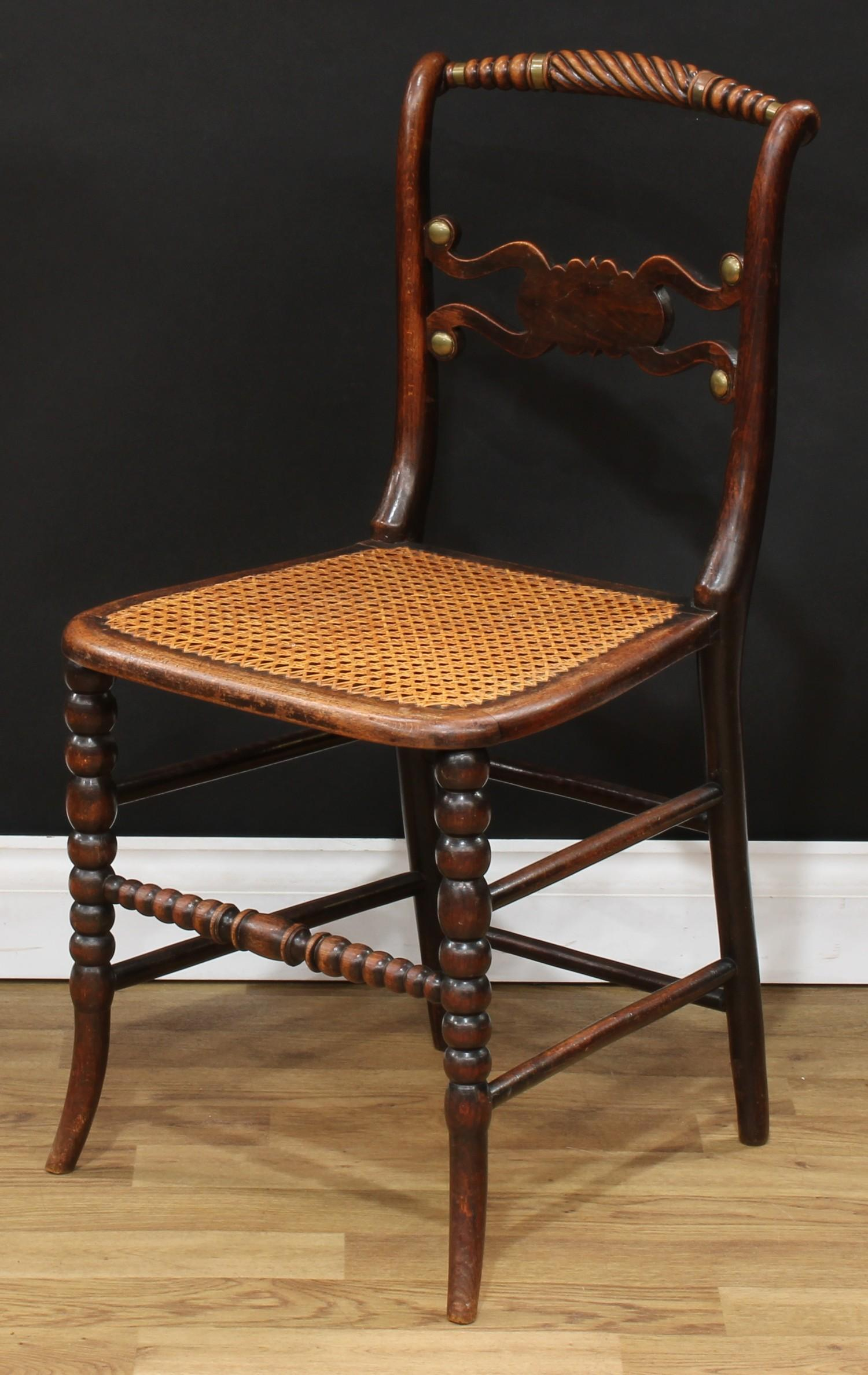 A set of four Regency brass mounted mahogany side chairs, each with a bobbin-flanked rope twist - Image 4 of 4