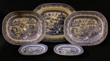A large Willow pattern meat plate, 53cm, c.1900; others smaller (5)