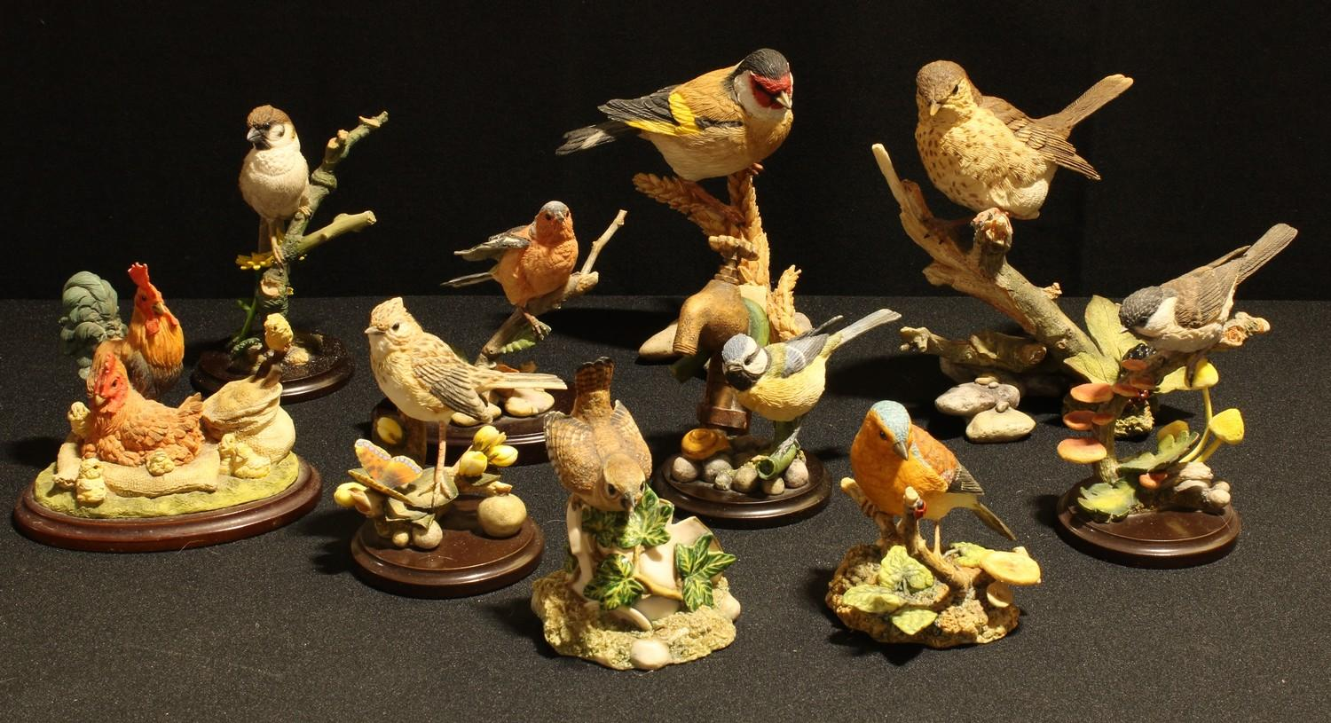 A Country Artists resin model, Charlecote Songthrush, 04979, 15cm; other similar bird models,