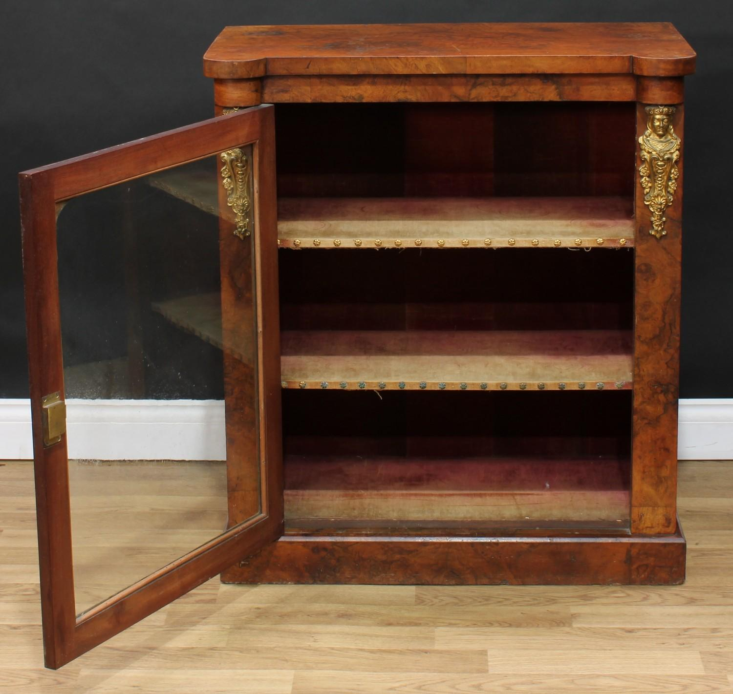 A Victorian gilt metal mounted walnut pier display cabinet or bookcase, hipped rectangular top above - Image 2 of 4