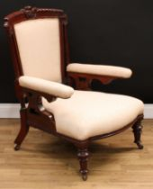 A Victorian mahogany drawing room armchair, 95.5cm high, 68cm wide, the seat 41cm wide and 63cm
