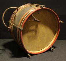 An early 20th century military type drum, painted bands of regimental colours, approx. 32cm diameter