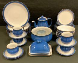A Denby dinner service, in mottled blue, unmarked