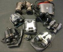 Hans Weiss 16 x 50 binoculars; Prinz binoculars; Lensatic compass; etc