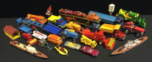 Diecast Vehicles - Dinky Supertoys Foden tanker; Corgi Toys Elevator; Unimog 406; Fire Engine;