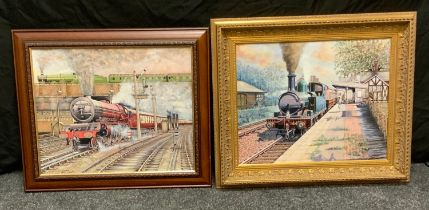 Clement Arthur Simpson (1929 - 2021) Engine Leaving the Station signed, oil on canvas, 40cm x