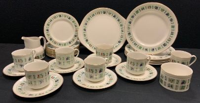 A Royal Doulton Tapestry pattern six setting tea and dinner service inc dinner and side plates, cups