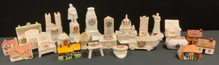 Crested Ware - St Paul's, Westminster Abbey, Cenotaph, all with City London crests; chairs, (14);