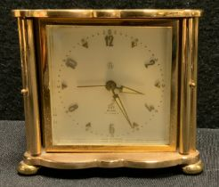 A French JAZ Aquarium alarm clock, serpentine rectangular case, twin door engraved and enameled with