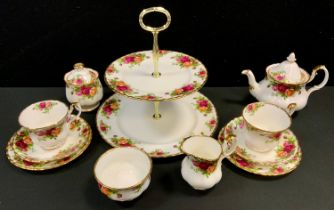 A Royal Albert Old Country Rose pattern afternoon tea duet set inc two tier cake stand, small tea