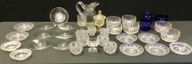 Glassware - a mid 19th century clear glass faceted water jug, slice cut, scroll handle, c.1850;