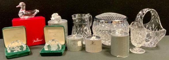 Glass - a Baccarat Duck; Swarsovski Crystal Koala; others, Pig, Elephant; Wren; other cut glass