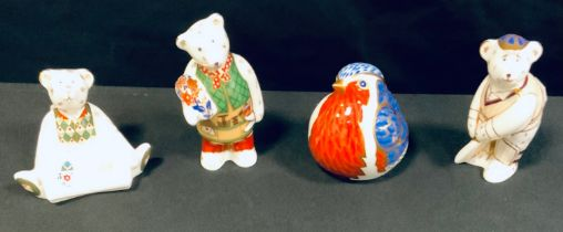 A Royal Crown Derby paperweight, Bear Cricketer; others, Artist; Congratulations; a Robin, gold