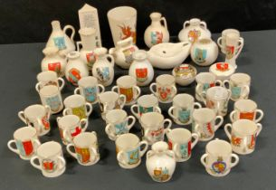 Crested Ware - 25 Goss three handled loving cups; other Goss crested ware (42)