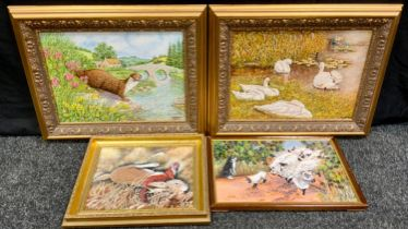 Clement Arthur Simpson (1929 - 2021) Swans signed, oil on board, 29cm x 38cm; others, Otter;