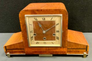 An Art Deco inlaid walnut mantel clock, eight day movement, silvered dial, c.1930