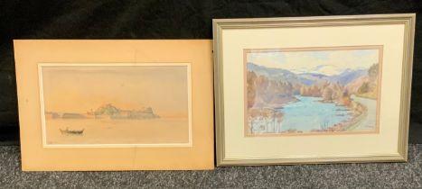 Thomas Train (1890 - 1977), River Dee, signed, titled, watercolor, 18cm x 28cm; Scarvetti, Corfu,