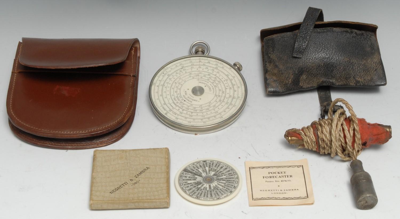 A Fowler's Twelve-Ten Patent Calculator, by Fowler & Co, Manchester, 9cm diam, leather case; a
