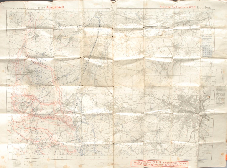 Cartography - a World War I German trench map, Stand der Stellungen vom 18.9.18, 1444, Ausgabe B; an