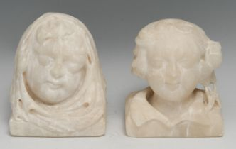 A 19th century alabaster carving, in the medieval taste as the head of monk, 13cm high; another,