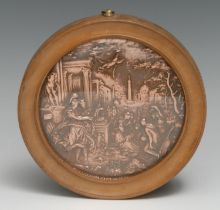 A 19th century copper roundel, in relief after the workshop of Hans Jakob Bayr with Minerva Presents