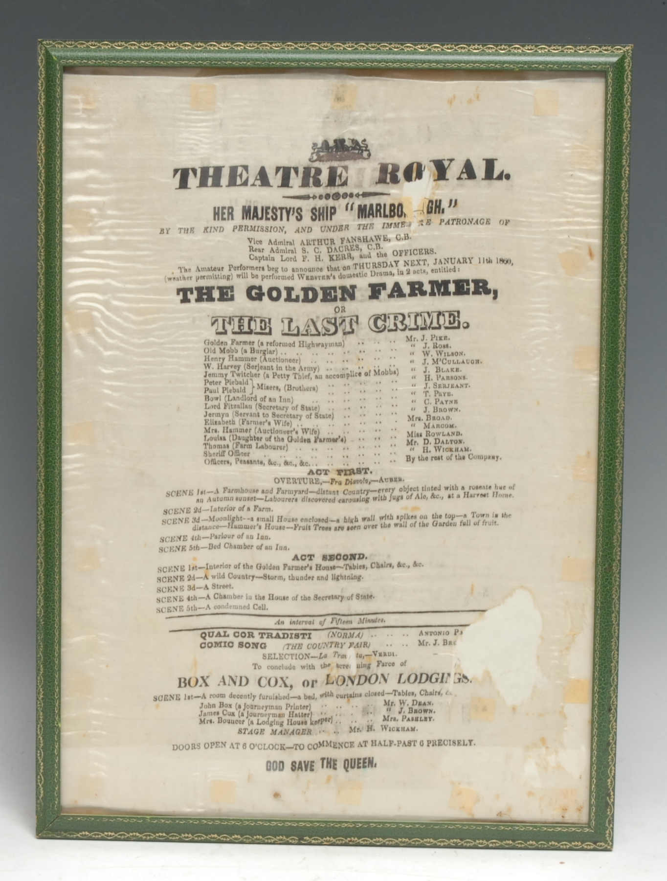 Theatrical and Royal Naval History - a Victorian printed silk advertising bill, The Golden Farmer or