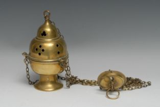 A 19th century brass ecclesiastical thurible censer, ogee cover pierced with Gothic tracery, 21cm