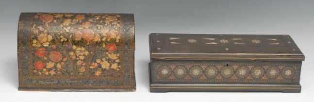 A 19th century Anglo-Indian marquetry and hardwood rectangular table-top casket, inlaid and strung