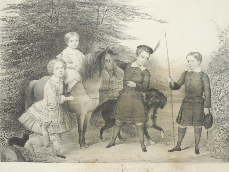 Alexander Blaikley (Scottish 1816 - 1903), after, Children of Russell Sturgis Esq, monochrome print,