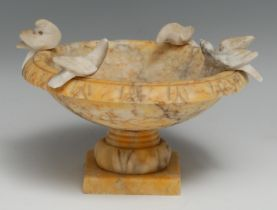 A 19th century Grand Tour Sienna marble model, of the Capitoline Doves or Doves of Pliny, the saucer