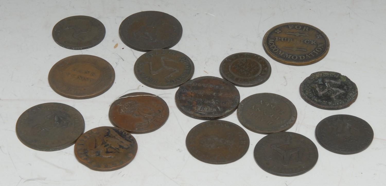 Tokens, GB, Isle of Man, including 1811 Douglas Bank Token; 1700 halfpenny; 1733 halfpennies (2);