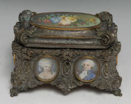 A 19th century French Rococo Revival silvered table casket, cast throughout with scrolls, flowers,