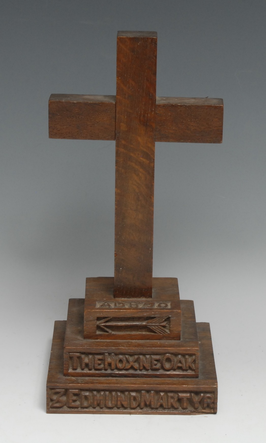 The Cult of King Edmund - a Victorian salvaged oak relic cross, the stepped base carved with an