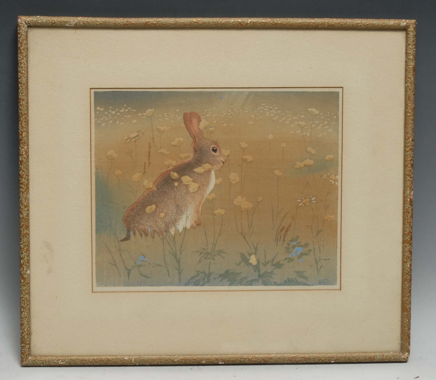 A*S, a coloured etching, of a Rabbit in a Field of Buttercups, indistinctly monogrammed and