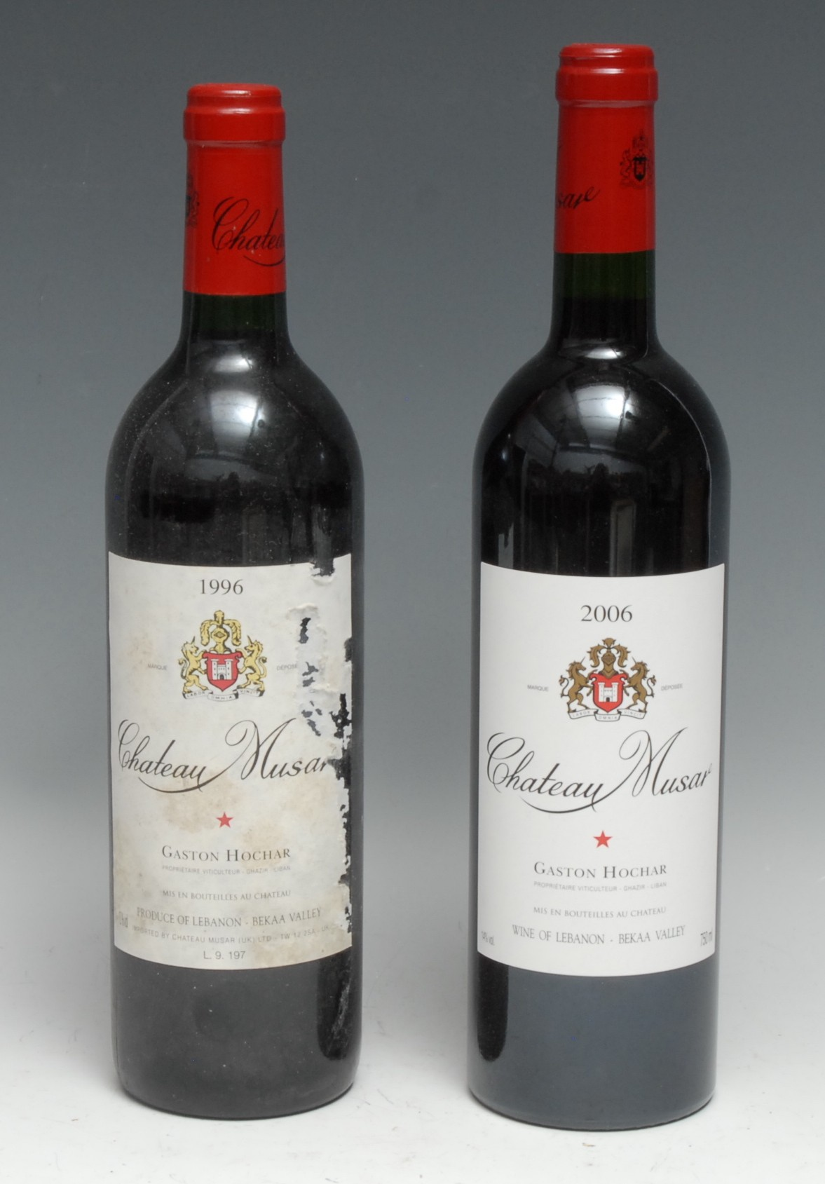 Chateau Musar 1996, [750ml], 13%, labels scuffed, level at neck, seal intact, (1); another, 2006,