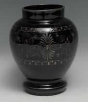 A 19th century Grecian Revival amethyst glass ovoid vase, decorated with a frieze of figures after