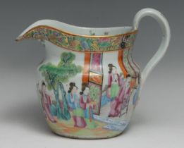 A 19th century Chinese famille rose jug, typically painted with traditional robed figures in a