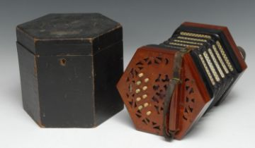 A 19th century concertina, by Lachenal & Co, London, twenty-one buttons, steel reeds, fretwork ends,