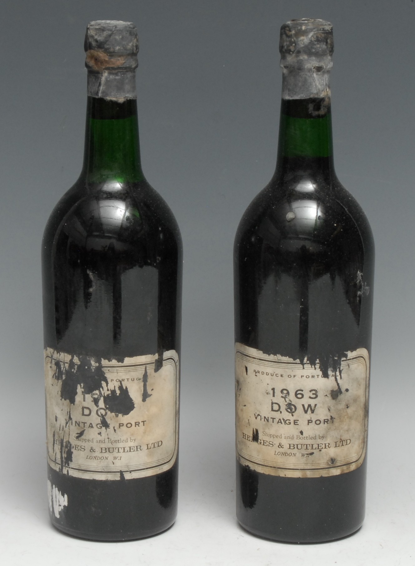 Two bottles of Dow 1963 Vintage Port, Shipped and Bottled by Hedges & Butler Ltd, [c. 75cl],