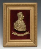 A 19th century gilt metal plaque, depicting Arthur Wellesley, 1st Duke of Wellington, the
