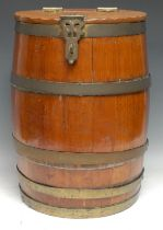 A 19th century coopered oak country house barrel, hinged cover with Gothic cast brass hinges and