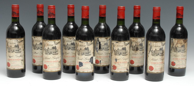 Ten bottles of Château Haut-Goujon 1982 Lalande-de-Pomerol, 75cl, mixed label conditions, levels