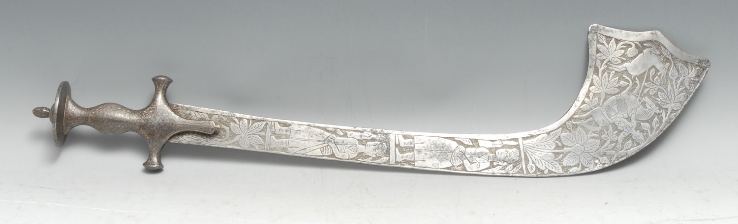 An Indian kora, 48.5cm curved blade with serpentine tip, chased with figures and animals, bidri