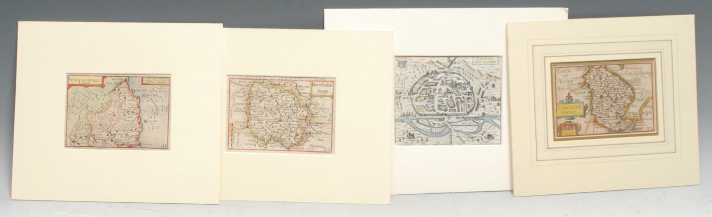 Pieter van den Keere (1571-c. 1646), three miniature county maps or 'Miniature Speeds':