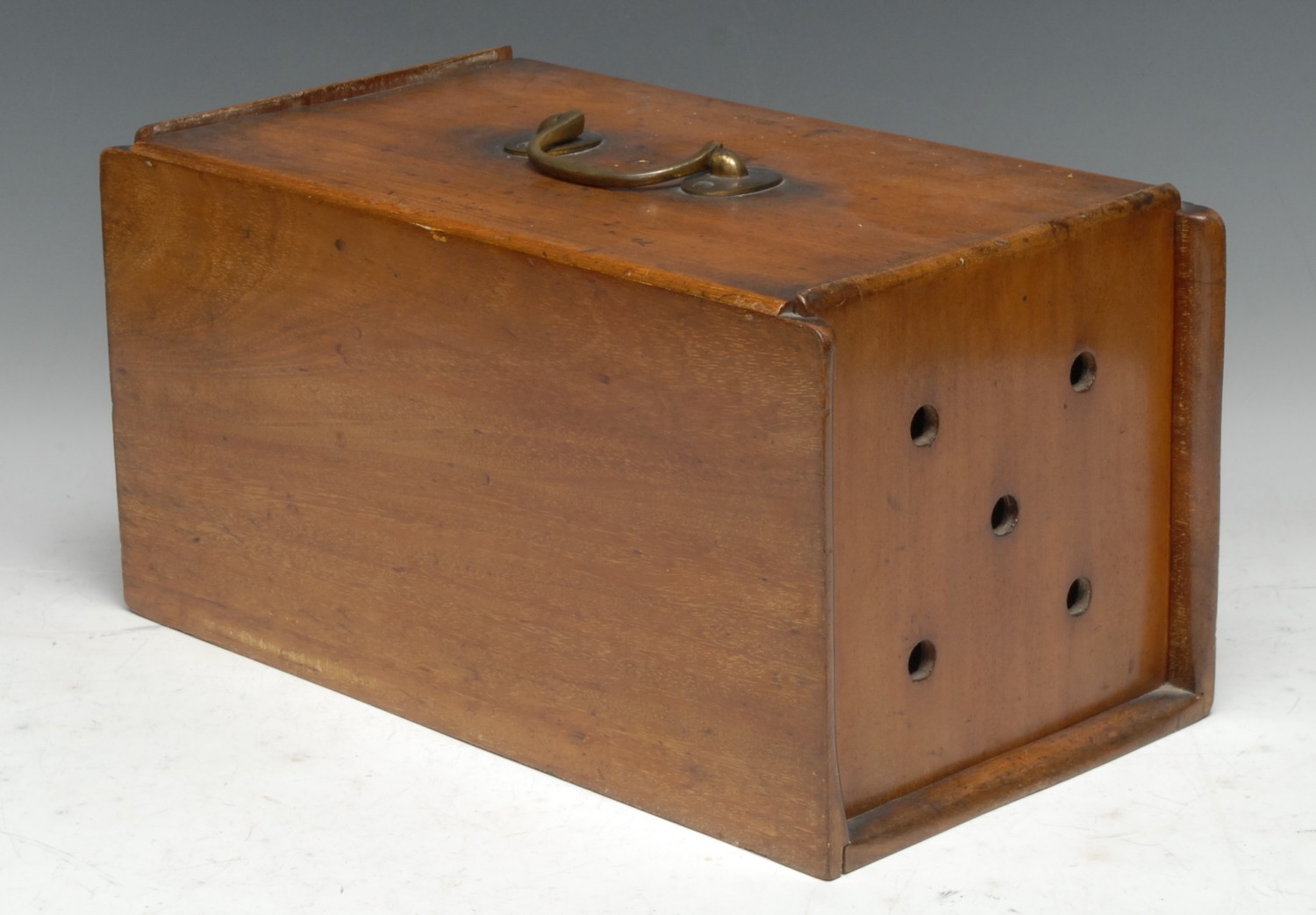 Treen - a 19th century mahogany racing pigeon box, each sliding cover with pierced vents,