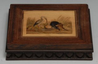 A 19th century Continental rosewood and marquetry rectangular desk weight, inlaid with the Fox and