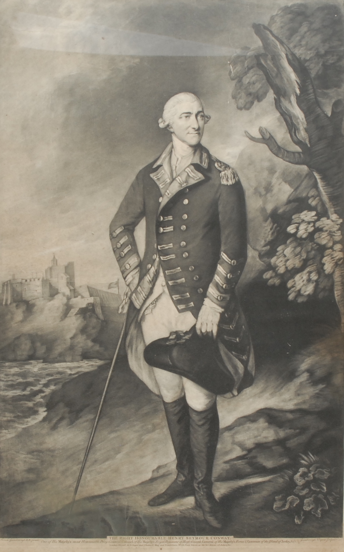 Thomas Gainsborough, after, portrait of The Right Honourable Henry Seymour Conway, monochrome - Image 2 of 2