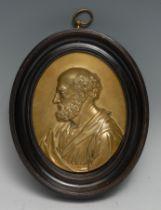 A 19th century gilt bronze oval portrait plaque, of Saint Paul, after the Renaissance, bust